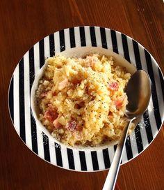 めしボナーラ(カルボナーラご飯版)上にトマトの角切りを少し散らしてもサッパリして良いかも…