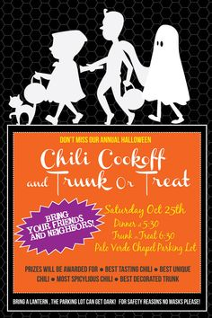 Halloween Party Invite, Poster and Hand outs. Chili Cookoff, and Trunk or Treat Poster. LDS Halloween, Kids Halloween.