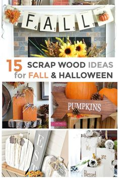 Make these fun Fall and Halloween Scrap Wood crafts for home decor, using scrap wood. They are fun, pretty, easy to do and inexpensive. Halloween Blocks, Halloween Wood Crafts, Halloween Activities, Fall Halloween, Halloween Decorations, Easy Fall Crafts, Fall Diy, Scrap Wood Crafts, Fall Vignettes