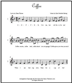 Kaffee Canon (or Coffee Canon!) with lettered notes for easy reading. Download it free for your singing group!