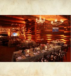 log cabin reception with long tables wedding