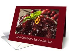 Thanksgiving Day Red Cranberry Sauce Recipe card