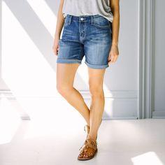Boyfriend Denim Shorts - Blue