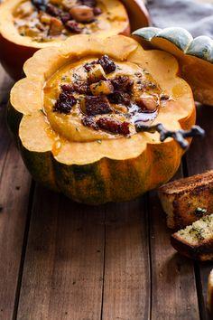 Chipotle Pumpkin Soup with Crispy Chorizo + Glazed Apples