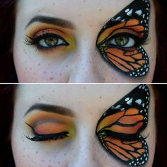 Day ● Another shot of today's look that I'm in love with! 😃 I hope you all enjoy this monarch butterfly look ! Monarch Butterfly Costume, Butterfly Makeup, Butterfly Eyes, Butterfly Face Paint, Butterfly Drawing, Butterfly Party, Butterfly Painting, Butterfly Jewelry, Butterfly Wallpaper