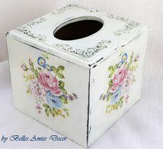 Tissue box cover shabby chic tissue box womens by BellesAmiesDecor