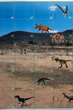 Faça você mesmo um jogo dos dinossauros! Ou melhor, chama a criançada para construir esse jogo de dinos junto! É diversão garantida! No post tem os arquivos prontinhos. É só imprimir e se divertir com esse jogo de dinossauro!