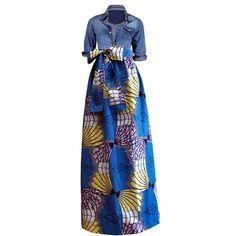 Chic African Print Maxi Skirt (Blue/Yellow/White)