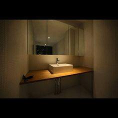 #9 #9design #ナイン #RENOVATION #リノベーション #lavatory #洗面 #ベッセル式 #カウンター #ラワン合板 #三面鏡 #収納 #スポットライト #love #tile #タイル #花形モザイク #showroom #ショールーム #OSAKA #大阪 #2015 #interior #インテリア #シンプル by yuichi__onoue