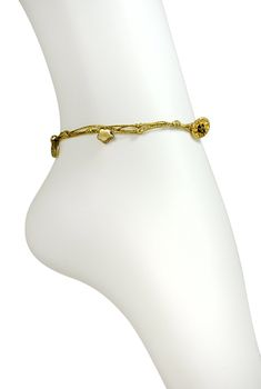 white jewelryweb spiga gold bracelet ankle chain anklet pin inch
