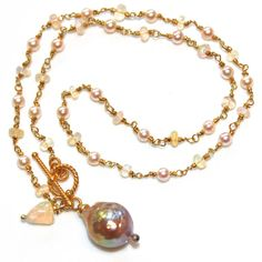 Kasumi Style Pearl Necklace Opal Toggle Necklace Gold by FizzCandy