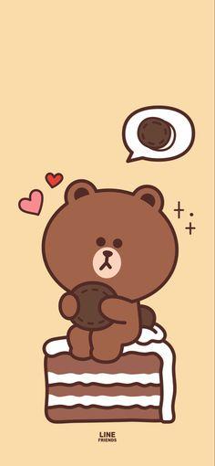 Brown Wallpaper, Bear Wallpaper, Iphone Background Wallpaper, Kawaii Wallpaper, Cartoon Wallpaper, Line Brown Bear, Brown Line, Kawaii Cute, Kawaii Anime