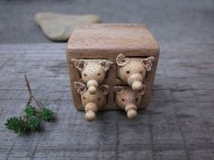 Miniature drawer with animals wood carving wood box Wood by plad