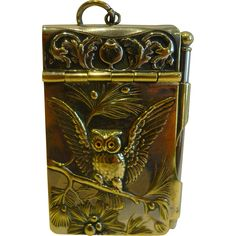 Charming Antique Novelty Aide Memoir - Owl With Glass Eyes c.1900