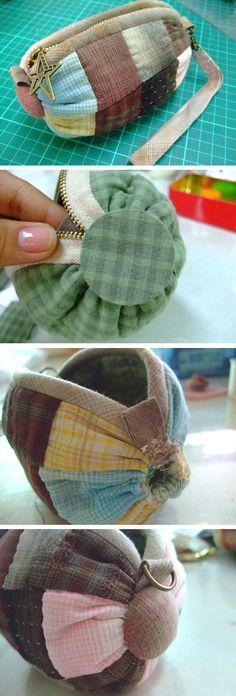 "How to sew a handbag ""Candy"" Photo Tutorial. Patchwork Zip Pouch / Cosmetic Bag. http://www.handmadiya.com/2016/02/handbag-candy-tutorial.html"