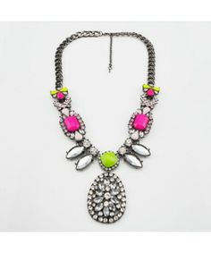 Shourouk Fluorescent Colourful Gem Exaggerate Necklace Wholesale Jewelry