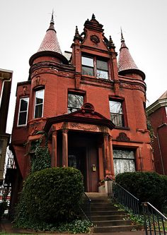 """historic homes This house was designed by . Gaffney in """"Spires rise on either side of a grossly embellished fractable. Wide use of sandstone, terra cotta and stained glass add to Victorian Architecture, Beautiful Architecture, Beautiful Buildings, Beautiful Homes, Architecture Design, Abandoned Houses, Old Houses, This Old House, Victorian Style Homes"""