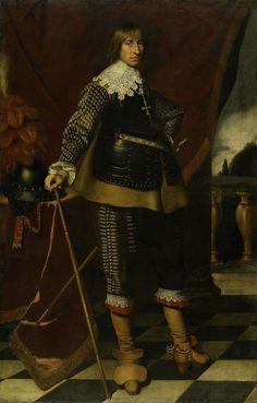 Wybrand de Geest   Portrait of Henry Casimir I, Count of Nassau-Dietz, Wybrand de Geest, c. 1632   Portret van Hendrik Casimir I, graaf van Nassau-Dietz, stadhouder van Friesland, landcommandeur van de balije Utrecht. Staande ten voeten uit met de stadhoudersstaf in de rechterhand. Links een helm met pluimen op een tafeltje, rechts een balustrade.