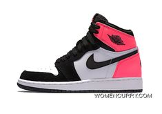"""Valentines Day"" Air Jordan 1 Retro High OG GS Black Black-Hyper Pink-White  New Style 2c164b567f56"
