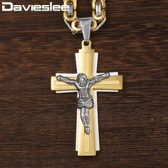 Davieslee Gold Silver Color Jesus Cross Pendant Necklaces For Men Stainless  Steel Byzantine Chain Men s Jewelry 77c03dcb5579