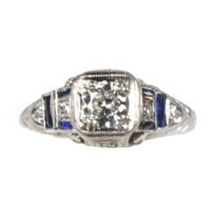 Art Deco platinum, diamond and blue sapphire ring