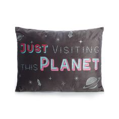 Look to the stars with this galactic cushion from George Home. Featuring a 'Just Visiting This Planet' slogan, it'll bring a galaxy of style to your living r. Slogan, Planets, Cushions, Home And Garden, Throw Pillows, Black, Products, Black People, Cushion