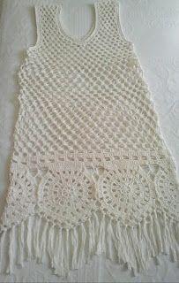 This Pin was discovered by Adr Beach Crochet, Baby Girl Crochet, Crochet Woman, Cute Crochet, Crochet For Kids, Crochet Summer Dresses, Black Crochet Dress, Crochet Tunic, Crochet Clothes