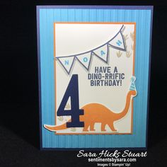 Stampin' Up No Bones About It birthday card Guy Birthday, Kids Birthday Cards, Dinosaur Birthday Party, Handmade Birthday Cards, Boy Cards, Kids Cards, Dinosaur Cards, Stamping Up, Birthday Party Invitations
