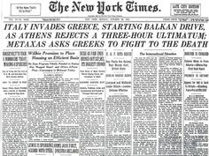 """October 1940 New York Times: Metaxas to Greeks """"Fight to Your Death"""" Political Leaders, Politics, Fall Of Constantinople, In Ancient Times, Macedonia, Athens, Greece, October, Death"""