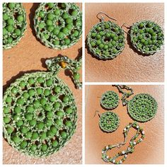 Uncinetto: bracciale, orecchini e collana. Crochet earrings, necklace