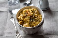 Cheesy Chicken Orzo: A tasty dish made with chicken, cheddar cheese and orzo.