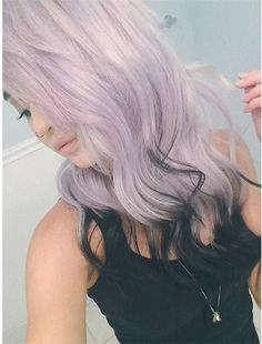 Nice lavender purple ombre hair style to black with blonde highlight~ amazing DIY color show from our customers