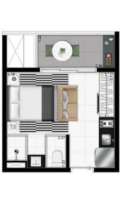 Projeto interno de apartamento de 19m² desenvolvido pelo arquiteto canadense Graham Hill para o VN Quatá, em São Paulo. O projeto é caracterizado pelo aproveitamento máximo dos espaços. Com sua configuração básica, o apartamento tem uma sala de estar, banheiro e cozinha