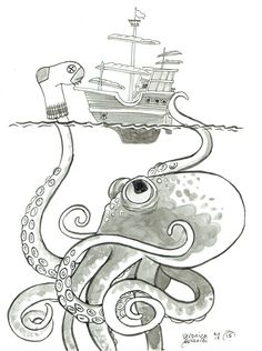 "5x7"" black and white post card on heavy cardstock. Blank back. From the #100monsters project in the first part of 2015. This clever kraken is more than he seems to the terrified crew of this tall ship"