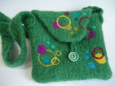 Green with Circles Felted Wool Handbag by SeasideSiren on Etsy, $37.00