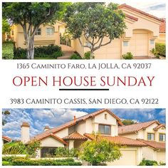 YOUR INVITED TO OUR OPEN HOUSE THIS SUNDAY, MAY 28th! Enter your chance to win a mini iPod shuffle if you attend both open houses.  _______________________________ 1365 Caminito Faro, La Jolla 92037 3BR/3BA/2,288 sqft Asking Price $1,375,000 12:00pm-3:00pm ________________________________  3983 Caminito Cassis, San Diego, Ca 92122 3BR/3BA/2,317 sqft Asking Price $974,900 12:00pm-4:00pm ____________________________  #LaJolla #SanDiego #TheLotzofGroup #lajollalocals #sandiegoconnection…