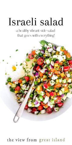 Israeli Salad (aka Arabic Salad) with Za'atar Dressing is a fresh tomato and cucumber salad with a refreshing crunch and a complicated history. This healthy chopped vegetable salad is traditionally served with every meal of the day and makes the perfect summer side dish. #salad #israeli #arabic #middleeastern #nomayo #barbecue #sidedish #vegetarian #healthy Best Salad Recipes, Healthy Recipes, Arabic Salad, Israeli Salad, Creamy Cucumber Salad, Chopped Salad, Summer Salads, Summer Food, Middle Eastern Recipes