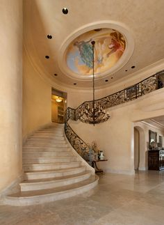 Glorious entry  #chandeliers #murals #iron work #venitian plaster #grand entry