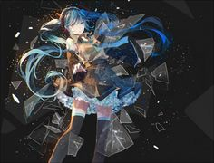 Tags: Anime, Hatsune Miku, Vocaloid, Blue Nails, Bou Shaku