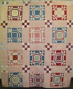 """One of my earliest and best purchases is this charming Goose in the Pond quilt. I especially love the blocks like this one with sawtooth """"c..."""