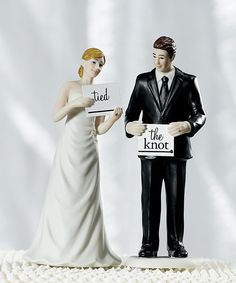 You won't have to worry about stumbling across words with our Read My Sign - Bride and Groom Wedding Cake Topper. These cake toppers enable you to express the unique nature of your relationship. Use one of our custom signs or create your own for an even more personal message. A bit picky? Not to worry - you have 20 different sign options to pick from! What would you say?