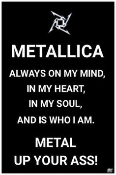 I've seen the other one that's siimilar.to this on Pinterest.  However,  I wanted to make it more personal and to express what Metallica & their music means to me. #Metallica