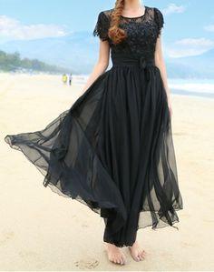 Short Sleeve Round Neck 3D Petal Design Chiffon Women's DressMaxi Dresses   RoseGal.com