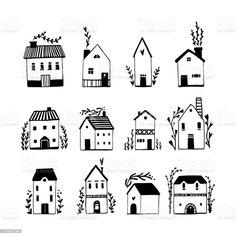 Building Illustration, House Illustration, Simple Illustration, White House Drawing, Simple House Drawing, Black And White Sketches, Black And White Illustration, Smal Tattoo, House Doodle