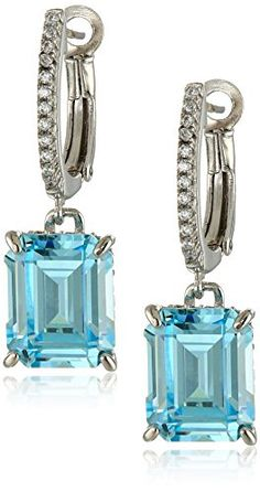 Crislu Platinum Plated Sterling Silver Cubic Zirconia Aquamarine Lever Back ** Continue to the product at the image link. Note: It's an affiliate link to Amazon