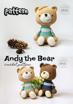 Super cute little Andy the Bear crochet amigurumi pattern to make this lovely little toy bear doll with an adorable little sweater! He looks like he's going back to school! Crochet Bear Patterns, Crochet Animals, Amigurumi Patterns, Sock Animals, Clay Animals, Crochet Teddy, Crochet Toys, Dog Crochet, Plush Pattern