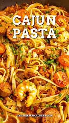 This particular recipe is one of my favorite pasta dishes. It's perfect for the spicy food lover, seasoned with copious amounts of Cajun seasonings and filled with loads of shrimp and smoky andouille sausage. We're talking Cajun Pasta, and I think you're going to love it! Andouille Sausage Recipes, Sausage Pasta Recipes, Spicy Chicken Recipes, Italian Pasta Recipes, Pasta Dinner Recipes, Easy Pasta Recipes, Cajun Recipes, Chili Recipes, Seafood Recipes