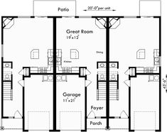 1000 images about triplex and fourplex house plans on for Triplex floor plans with garage