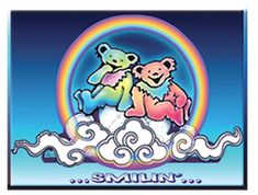 This Grateful Dead Smilin' Bears On A Cloud Sticker is durable and will stay attached to its landing destination for years to come. Star Stickers, Bumper Stickers, Cute Stickers, Grateful Dead Image, Grateful Dead Dancing Bears, Grateful Dead Merchandise, Bear Paintings, Bear Tattoos, Dead And Company