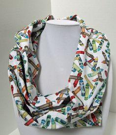 Infinity Scarf - Loop Scarf - Circle Scarf -  colors - crayon - Cotton - teacher apparel